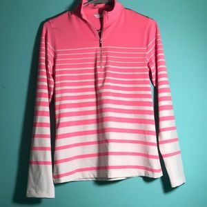 NWOT pink and white striped athletic quarter zip